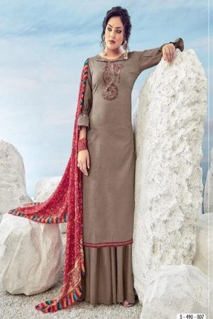 Alok Suit Presents Vrihani Pure Cotton Jacquard With Embroidery Salwar Kameez 490-007