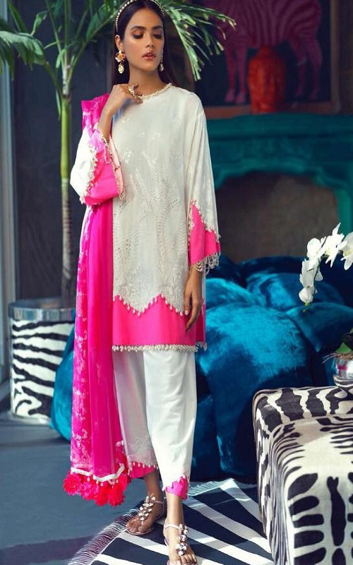 Fair Lady Presents Sana Safinaz Satin NX Pure Jam Satin Print With Embroidery Pakistani Replica Suit 1001NX