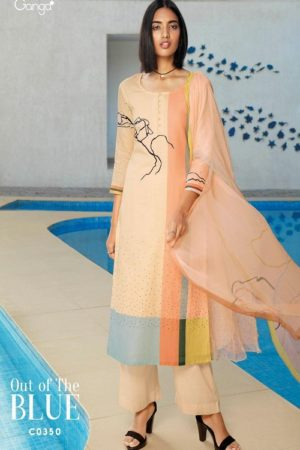 Ganga Fashions Presents Out of the Blue Pure Linen Digital Printed Suit C0350