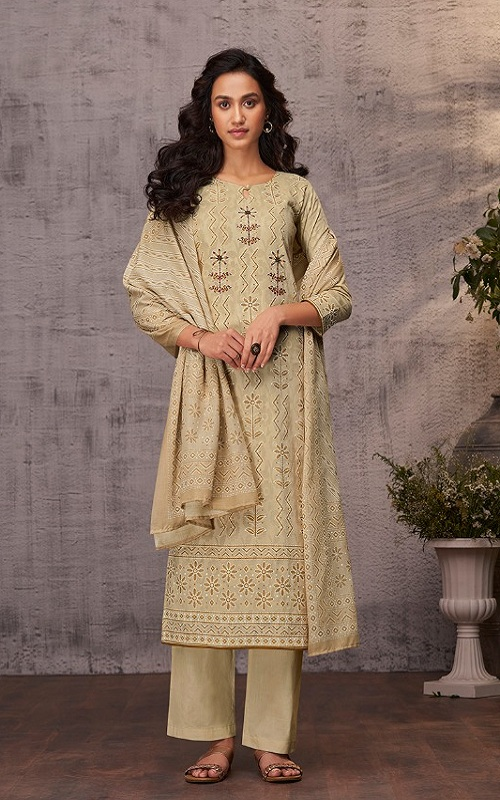 Ganga Reyna Lucknawi Cotton Finest Jacquard Lucknawi Print With Handwork Suit 504-A