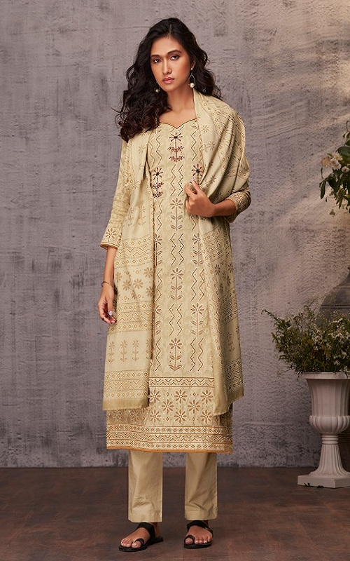 Ganga Reyna Lucknawi Cotton Finest Jacquard Lucknawi Print With Handwork Suit 504-B