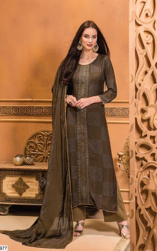 Buy Golok S Kashmakash Printed ON Muslin with Sequence and Hand work Suit 977