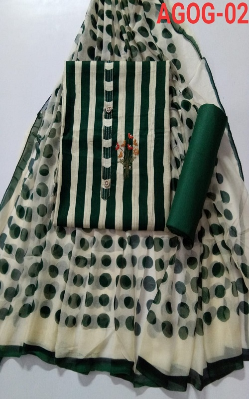 Buy Krishh Jackpot Cotton with Button and Embroidery Work Ladies Suit AGOG-02