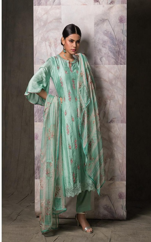 Buy Naariti Sajda Muslin Silk Multhread Embroidery Salwar Suit 5280