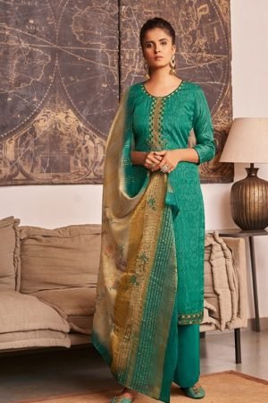 Ganga Fashions Presents Enigma 2 Tussar Silk Print With Embroidery Salwar Suit 534