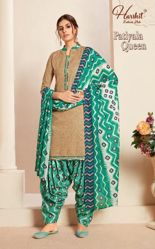 Harshit Presents Patiyala Queen Pure Superior Cotton Self Printed Salwar Suit 1642-001
