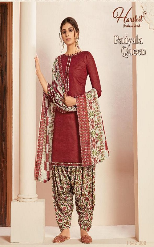 Harshit Presents Patiyala Queen Pure Superior Cotton Self Printed Salwar Suit 1642-008