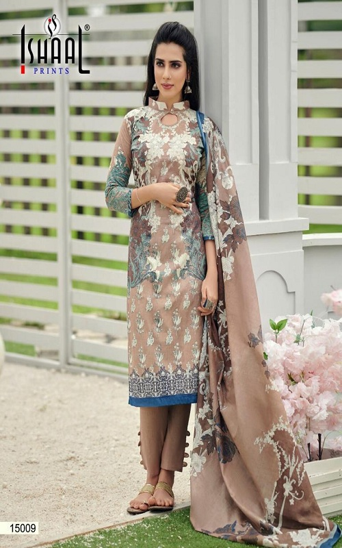 Ishaal Prints Presents Gulmohar 15 Pure Lawn Salwar Suits 15009