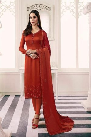 LT Fabrics Presents Nitya 150 Satin Georgette With Swaroski Work Salwar Suit 5002
