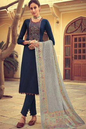 Mumtaz Arts Presents Saanjh Hit Lit Pure Original Jam Satin Dyed With Kashmiri Embroidery Salwar Suit 3003