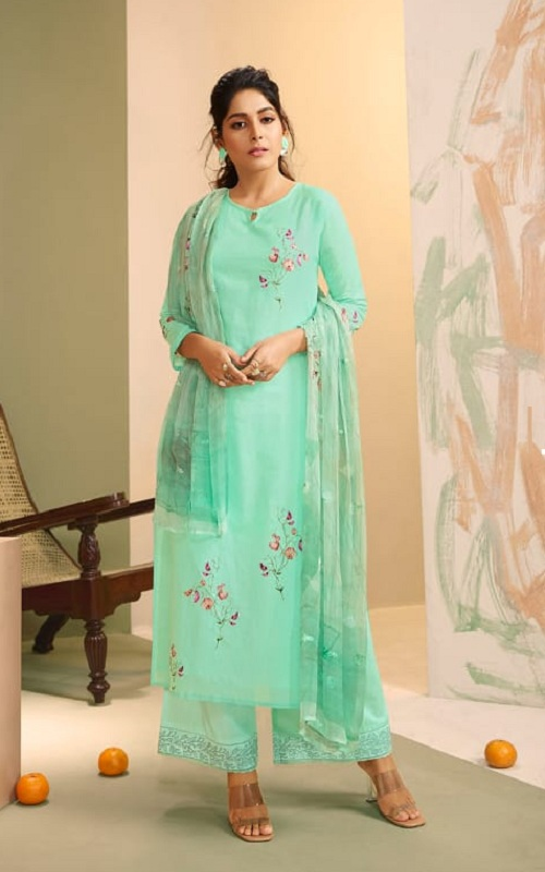 Omtex Presents Vaidi Royal Linen With Handwork Unstitched Suit For women 1151