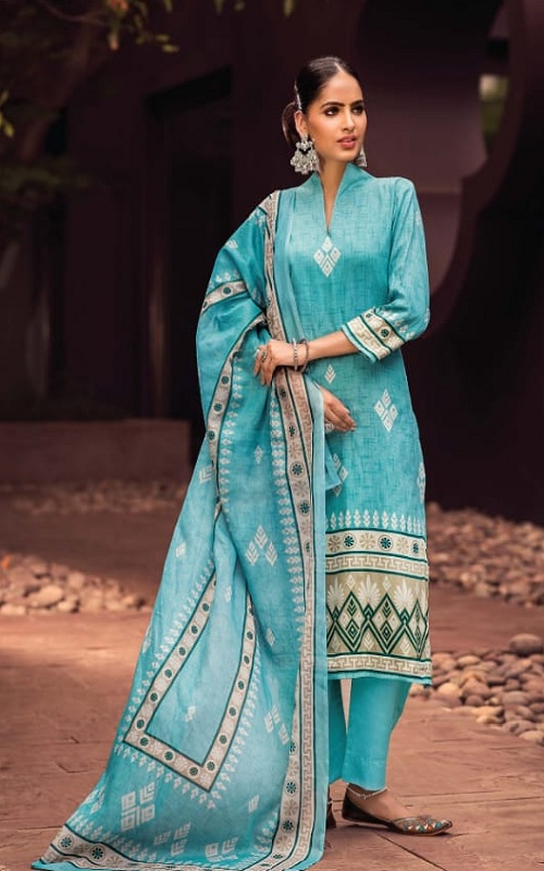 Rivaa Presents Junoon Cotton Satin Print Unstitched Ladies Salwar Suit 3502 A