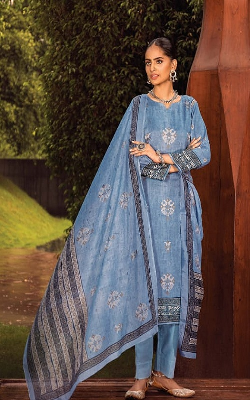 Rivaa Presents Junoon Cotton Satin Print Unstitched Ladies Salwar Suit 3505 B