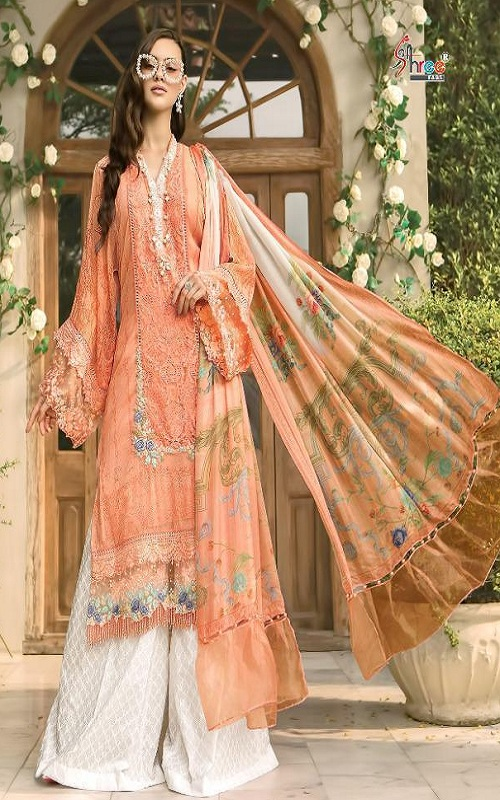 Shree Fabs Maria B Lawn Super Hit Pure Cotton Print With Heavy Embroidery Salwar Suits 1258