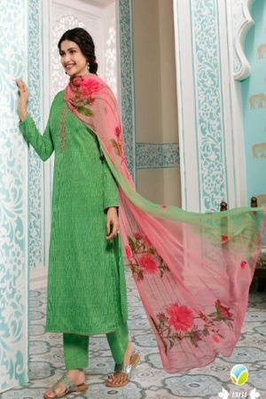 Vinay Fashion Presents Kervin Aarushi Premium Cotton Satin Thread Embroidery With Digital Print Salwar Suit 13111