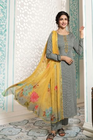 Vinay Fashion Presents Kervin Aarushi Premium Cotton Satin Thread Embroidery With Digital Print Salwar Suit 13112