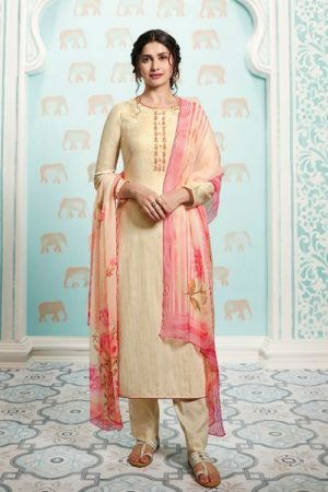 Vinay Fashion Presents Kervin Aarushi Premium Cotton Satin Thread Embroidery With Digital Print Salwar Suit 13114