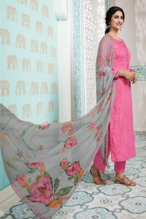 Vinay Fashion Presents Kervin Aarushi Premium Cotton Satin Thread Embroidery With Digital Print Salwar Suit 13115