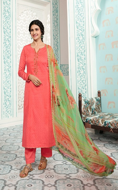 Vinay Fashion Presents Kervin Aarushi Premium Cotton Satin Thread Embroidery With Digital Print Salwar Suit 13116