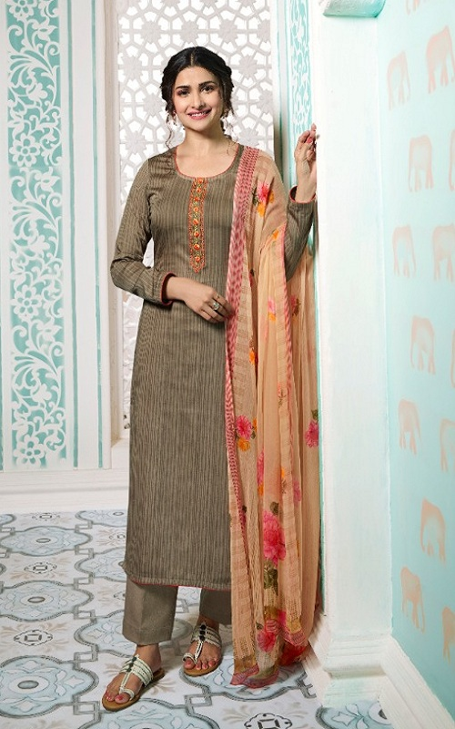 Vinay Fashion Presents Kervin Aarushi Premium Cotton Satin Thread Embroidery With Digital Print Salwar Suit 13117