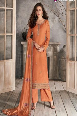 Aashirwad Creation Presents Haseena Premium Tussar Silk with Embroidery Designer Suit 7168