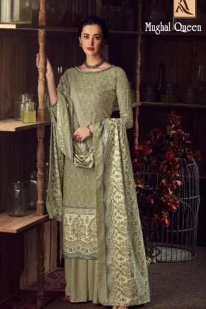 Buy Alok Suits Mughal Queen Pure Wool Pashmina Digital Gold Print Salwar Kameez 655-001