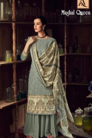Buy Alok Suits Mughal Queen Pure Wool Pashmina Digital Gold Print Salwar Kameez 655-002