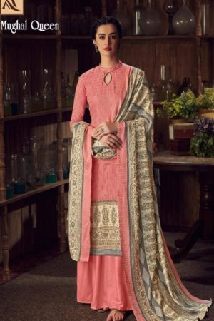 Buy Alok Suits Mughal Queen Pure Wool Pashmina Digital Gold Print Salwar Kameez 655-003