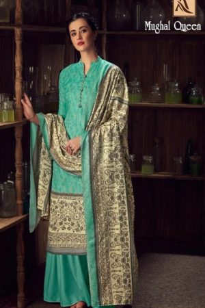 Buy Alok Suits Mughal Queen Pure Wool Pashmina Digital Gold Print Salwar Kameez 655-004