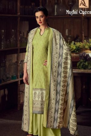 Buy Alok Suits Mughal Queen Pure Wool Pashmina Digital Gold Print Salwar Kameez 655-005