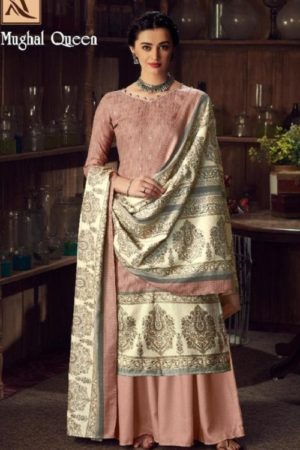 Buy Alok Suits Mughal Queen Pure Wool Pashmina Digital Gold Print Salwar Kameez 655-006
