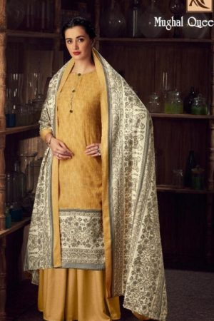 Buy Alok Suits Mughal Queen Pure Wool Pashmina Digital Gold Print Salwar Kameez 655-007