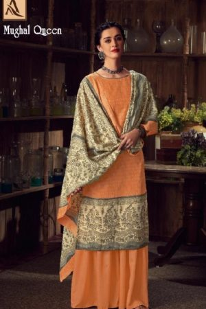 Buy Alok Suits Mughal Queen Pure Wool Pashmina Digital Gold Print Salwar Kameez 655-008