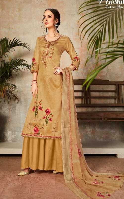 Harshit Fashion Presents Alisha Pure Jam Digital Printed Embroidered Salwar Suit 346-008