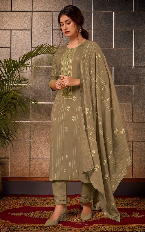 Jayvijay Presents Aura Modal Silk Foil Print with Embroidery salwar Suit 5488