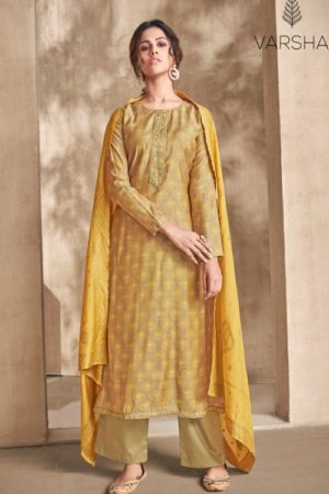 Varsha Fashion Presents Adrika Chanderi With Embroidery Salwar Suit AD-01 (YELLOW)