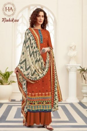 AGOG Harshit Fashion Hub Rishikaa Pure Wool Pashmina Digital Style Print Suits S-518-002