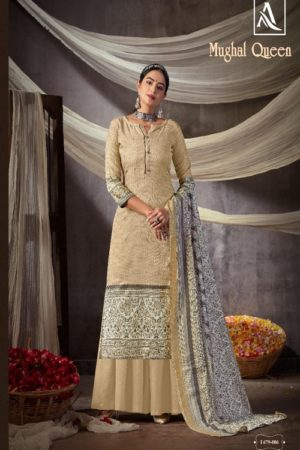 AGOG Mughal Queen Pure Wool Pashmina Digital Gold Print Suit I 679-006