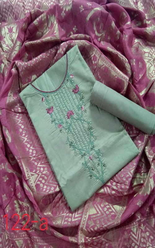 AGOG Non Catalog 122 Pure Chanderi Silk With Embroidery And Hand Work Suits 122-A