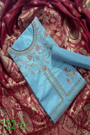 AGOG Non Catalog 122 Pure Chanderi Silk With Embroidery And Hand Work Suits 122-B