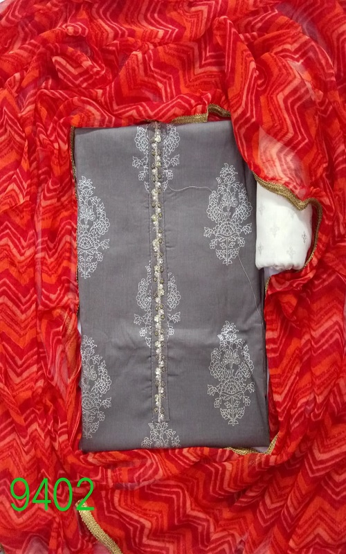 AGOG Non Catalog 94 Pure Cotton Cambric Foil With Hand Work (2.5Mtr. App.) Salwar Suits 9402