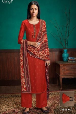 Ganga Fashion Barbie-S0193 Winter Collection Wool Dobby Printed With Embroidery With Neck Patti and Solid Daman Border Salwar Suit S0193-D