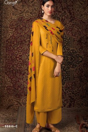 Ganga Fashion Hima Plus S0213 Wood Dobby Printed with Embroidery Suits S2013-C