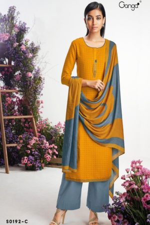 Ganga Fashion Hima Winter Collection Wool Dobby Printed With Embroidery Salwar Suit S0192-C