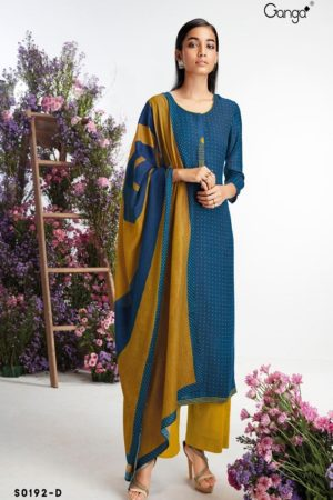 Ganga Fashion Hima Winter Collection Wool Dobby Printed With Embroidery Salwar Suit S0192-D