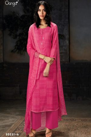 Ganga Fashion SyraS0221 Wool Dobby Printed With Embroidery and Button Work Suits S0221-A