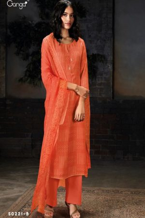 Ganga Fashion SyraS0221 Wool Dobby Printed With Embroidery and Button Work Suits S0221-B