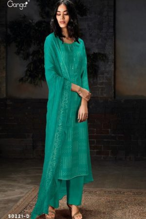 Ganga Fashion SyraS0221 Wool Dobby Printed With Embroidery and Button Work Suits S0221-D