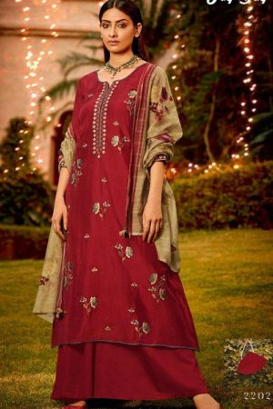 Jay Vijay Naayab 2 Summer Collection Pure Bemberg Silk With Embroidery and Handwork Salwar Suit 2202