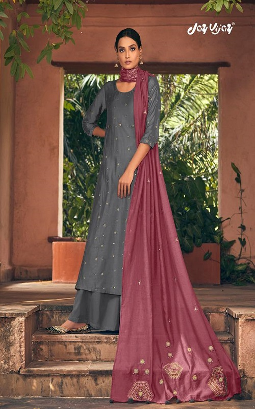 Jayvijay Prints Ragga 6 Silk Collection Pure Bemberg Silk With Mukaish Handwork Suits 5510